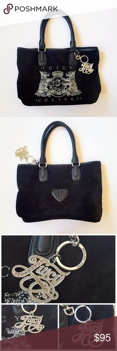 "Juicy Couture Black Velour Tote Bag /Purse Very good overall condition. See last 2 pics for the signs of wear (stains on the inner tag, lining on one side, etc.). Velour has some teeny bits of lint here and there. Rhinestones intact. Keychain in beautiful condition. Minor wear on the handles. Length approx 14 1/2"" when flat, 9 7/8"" height, 7"" strap drop, bottom padding 12 7/8"", depth 4 3/4"" Juicy Couture Bags Totes"