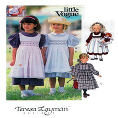 LITTLE VOGUE 8608, Girl Dress, Pinafore, Apron, Smocking, Piped, Peter Pan Collar, Puff Sleeves, Size 2-3-4, Princess Charlotte Style, UNCUT