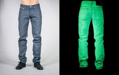 At first we thought it was just a clever name for some abnormally-bright pants, but nope, these Naked & Famous Glow In The Dark Jeans really do glow in the dark, thanks to a phosphorescent coating that's applied to the Japanese-sourced raw denim. Bright Pants, Raw Denim, Dark Jeans, Rave Wear, Fashion Night, Yoko, Jeans For Sale, The Darkest, Night Out