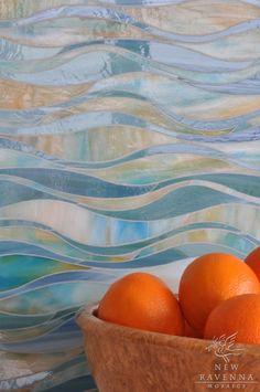 Oasis jewel glass waterjet mosaic in Peacock Topaz and Aquamarine | The Silk Road Collection | Sara Baldwin | New Ravenna