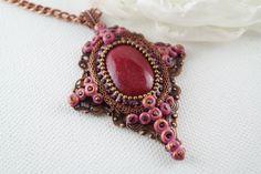 red victorian big pendant cross pendant red necklace victorian necklace copper pendant stone clay pendant unique pendant one of a kind