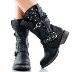 Black Spike Studded Punk Biker Motorcycle Women Flat Mid Calf Boots | 59919