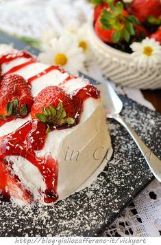 Semifreddo alle fragole mattonella dolce cremosa vickyart arte in cucina