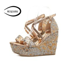 fc3a50cf8e3c WEIQIAONA New summer Women s High heels Sandals open toe gold Embroidered  Sidebands Cross Strap waterproof wedges ladies shoes.