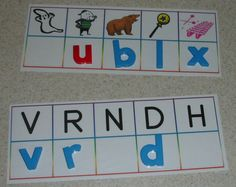 early literacy centers:  matching upper-case to lower-case letters, and identifying beginning sounds to corresponding pictures.