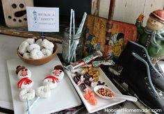 Snowman Doughnut Building Station for Snowman Breakfast for the Kids :: HoosierHomemade.com
