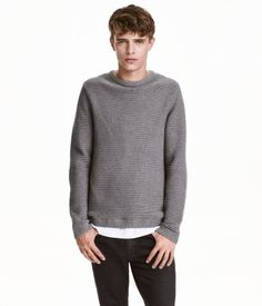 Gray. Cotton sweater in a soft rib knit with long sleeves.