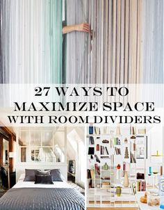 "27 Ways To Maximize Space With Room Dividers Just think of all the things you can do with your new ""wall."" You can paint a mural on it, push a desk up against it, or even project a movie onto it."
