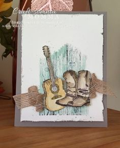"""NEW Stampin Up """"COUNTRY LIVIN"""" 3pc STAMP SET Cowboy Christmas Boots Guitar Truck"""