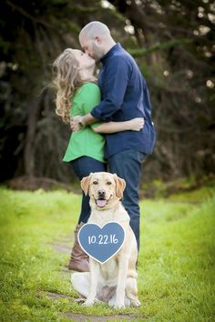 Dog holding Save-the-Date sign, engagement photos with dog, Lora Mae Photography: