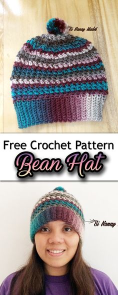 """FREE CROCHET HAT PATTERN. Bean Hat is a beautiful hat with beautiful stitches. It's like small puff stitches, but it is called a """"BEAN STITCH""""."""