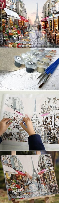 Lovers and the Eiffel Tower oil painting DIY kit, it makes painting easier by coloring according to numbers. Painting made more fun! Great stress relief, works a lot like secret garden coloring book. Click to see more details.