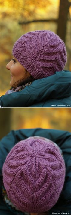 """Шапка спицами """"Магнолия"""" от Мария Соха."""