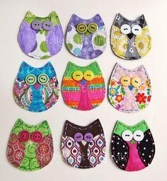 Owl Applique,Fabric Owl, Owl Embellishment, Scrap Fabric Owl, Scrapbook Owl- Custom Made for YouMade to Order