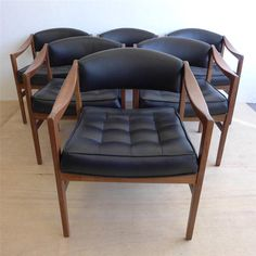 Set of six Edward Wormley Walnut Dining Chairs for by DenMobler, $5495.00