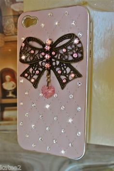 LEATHER QUILTED CASE Iphone 4 4S ~ 100% SWAROVSKI & Chanel Perfume ~ Fits Apple | eBay