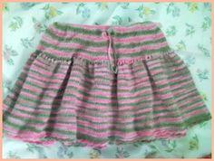Pink Scallop Edge Skirt - Very Cute Girls' short skirt knitting pattern