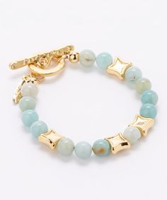 Look at this #zulilyfind! Calinana Gold & Turquoise Bead Toggle Bracelet by Calinana #zulilyfinds