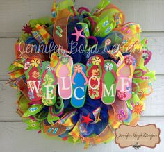 flipflop wreath | Flip Flop Welcome Mesh Wreath , Perfect for Summertime or the Beach ...