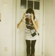 Love the vintage camera and the Striped Dress