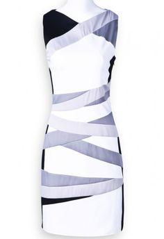 White Black Silver Sleeveless Striped Bodycon Dress pictures