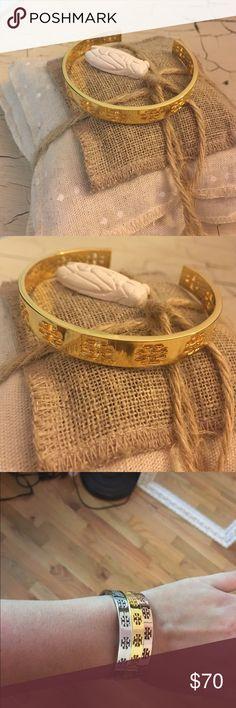 Tory Burch Pierced TCuff Logo Bracelet - Gold NWOT authentic Tory Burch pierced t cuff bracelet Tory Burch Jewelry Bracelets