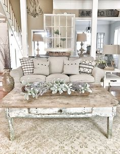Bless This Nest - Farmhouse Living Room. Chippy window and coffee table decor
