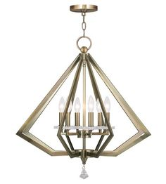 600- OTHER COLORS Livex Diamond 6 Light Chandelier in Antique Brass 50666-01 #lightingnewyork #lny #lighting