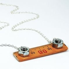 Ruler Necklace- Upcycled Wooden Folding Ruler Hardware Necklace, Found Object Jewelry, Hardware Jewelry