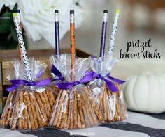 Pencil broomsticks. Candy free idea