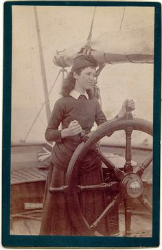 Old photos; the young lady at the helm. I dig it, good. Old Pictures, Old Photos, Vintage Photos, Pirate Boats, Leagues Under The Sea, Tall Ships, Sailboat, Sailing Ships, Hale Navy