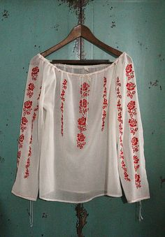 vintage red embroidered cotton blouse in white / by silkroaddream
