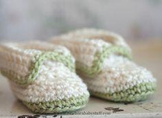 Crochet Baby Booties Free Pattern Friday: Crochet Ivory & Green Booties