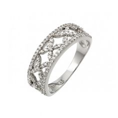 Sterling Silver Paved CZ Ring Ladies CZ Ring by OwlDesigns1996, $42.99