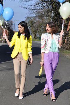 focus on the yellow. tan pants. bottom layer - white shirt, second layer - yellower sweater, top layer - yellow blazer