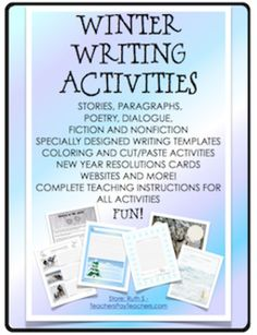 Winter Writing Activities Stories, Poems, Fiction and Non-fictionFifty one pages of FUN writing activities for paragraphs, short or long stories, poetry, writing dialogue, fiction and nonfiction ideas. Coloring and drawing Instructions and suggestions are provided for all activities.Included are:Winter Sports  Write facts about the sport pictures or poems or descriptive paragraphs Winter Poem in a Pocket  Hands on cut and paste activity with pocket and mitten templates.