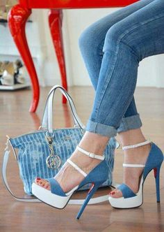 Trendy High Heels For Ladies : Blue stilettos High Heel Boots, High Heel Pumps, Heeled Boots, Stiletto Heels, Shoe Boots, Dream Shoes, Crazy Shoes, Me Too Shoes, Pretty Shoes