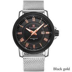 NAVIFORCE Luxury Brand Analog Date Men's Quartz Watch Casual Watches Men Wristwatch Stainless Steel Strap Silver mesh band