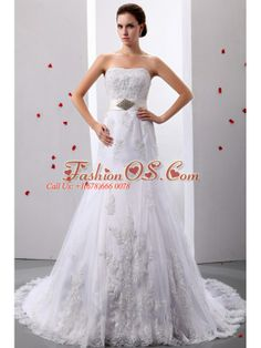 Gorgeous ALine Princess Strapless Cathedral Train Beading