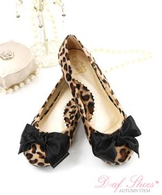 leopard print bow flats - yesstyle