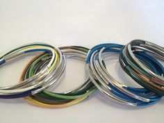 Leather colorful Bracelets, silver with magnetic clasp Mio Studio