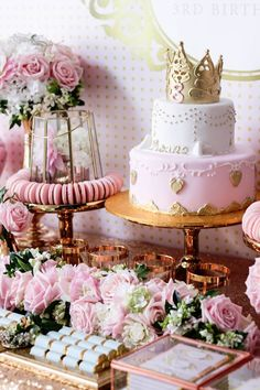 Cake + Florals + Sweets from a Copper, Pink & Gold Princess Party via…