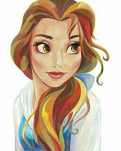 Meine Disney Zeichnung - Bell+-+Stylized - Mara E. Princesses Disney Belle, Belle Disney, Disney Princess Drawings, Disney Princess Art, Disney Fan Art, Disney Girls, Disney Love, Princess Belle, Drawing Disney