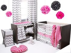 Chevron ZigZag  Pink/Grey 6 Pc Crib Bedding Set with 4 Muslin Blankets/ Bacati #Bacati