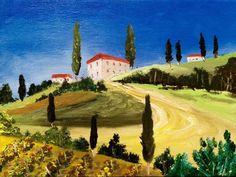 Art original  oil painting Italy Tascany landscape vineyard village hills #Expressionism