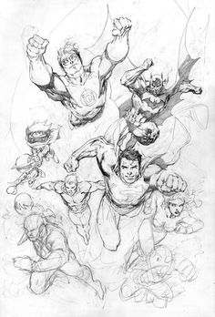 Justice League Sketch by Jim Lee