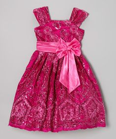 Love this Fuchsia Floral Sequin A-Line Dress - Infant, Toddler & Girls by Kid Fashion on #zulily! #zulilyfinds