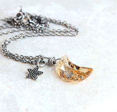 Crescent Necklace Oxidized Silver Charm Necklace Golden by Hildes