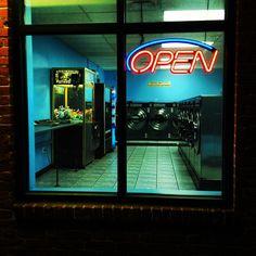 Laundromat at night, East Boston