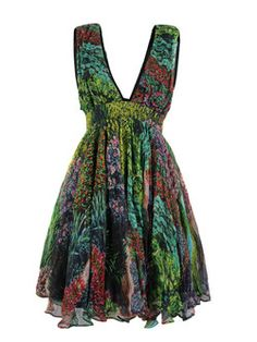 Stolen Girlfriends Club – Acid Doll, womens silk empire line doll dress with a green Day Garden floral print. The sleeveless dress also features a deep v-neckline, gathered, fixed waistband with voluminous skirt and a deep v shaped rear with concealed zip fastening. The dress is fully lined with a ruffled black underskirt and sits just above the knee. - Stolen Girlfriends Club at Coggles.com